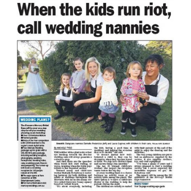 Illawarra Mercury Bridal Expo When the kids run riot, call wedding nannies